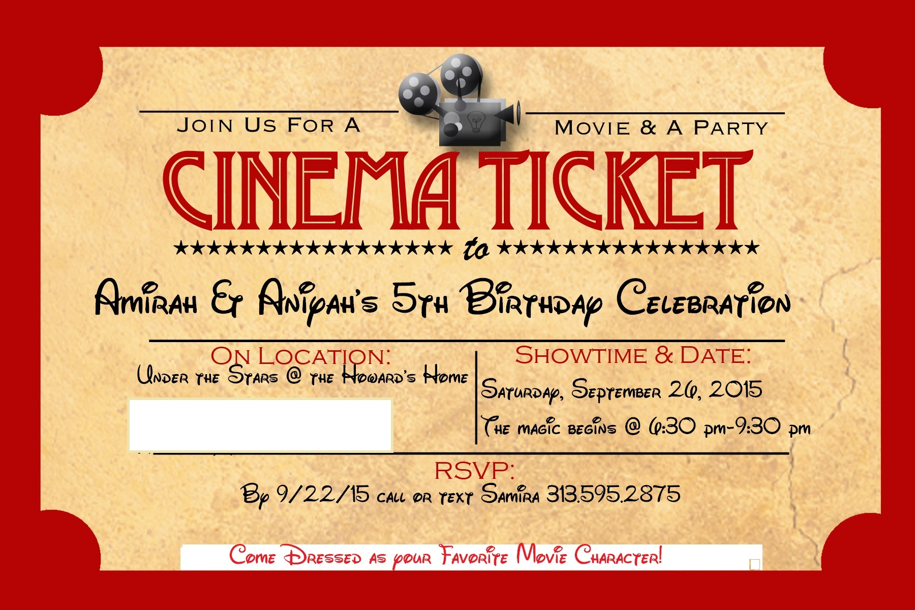 Our 5th Birthday Party – Theater Ticket Template